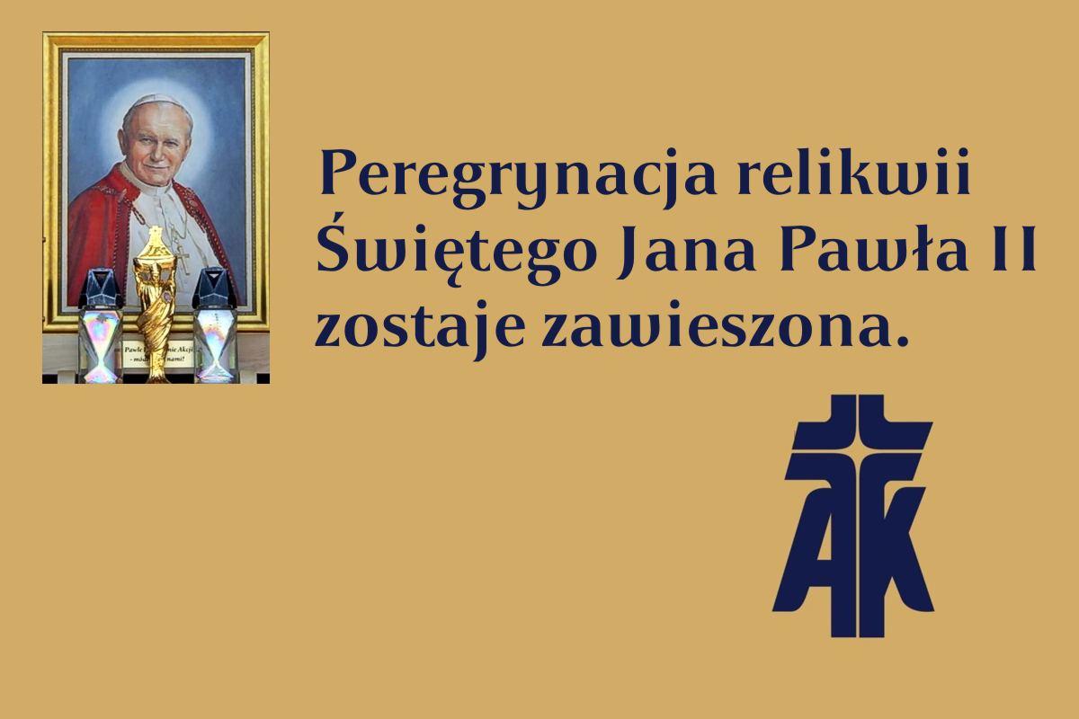 Peregrynacja relikwii Św. Jana Pawła II zawieszona